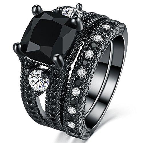 FENDINA Women 18K Black Gold Plated 2 PCS Wedding Engagement Rings Black Stones Princess Cut Promise Bridal Birthstone Ring - Glasses Khloe Kardashian