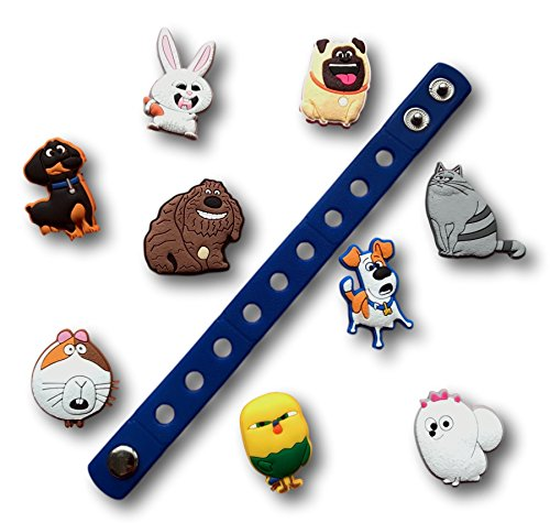 Jibbitz for Crocs Shoes by Nenistore| Cute Shoe Charms Plug Accessories for Crocs & Bracelet Wristband Party Gifts| The Secret Life of Pets (Set of 9 pcs) & 01 Silicone Wristband 7 Inches