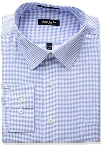 Pierre+Cardin+Men%27s+Slim+Fit+Dress+Shirt%2C+Plaid+Blue%2C+17%22-17.5%22+Neck+32%22-33%22+Sleeve