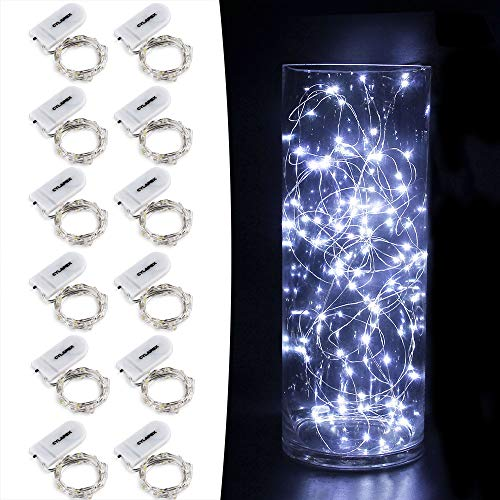 CYLAPEX 12 PCS Fairy Lights Cool White 3.3FT Silvery Copper Wire 20 LED String Lights Battery Powered, Starry String Lights Battery Operated Firefly Lights for Costume DIY Wedding Home Party Christmas]()