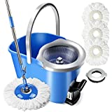 8L Spin Mop and Bucket Set 360 Degree Foot Pedal Clean Mop with 3 Pcs Microfiber Mop pads and 1 Pc Floor Brush head