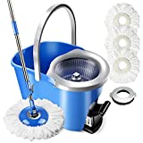 Mastertop Magic Spin Mop and Bucket Set Foot Pedal Microfiber Mop with 3