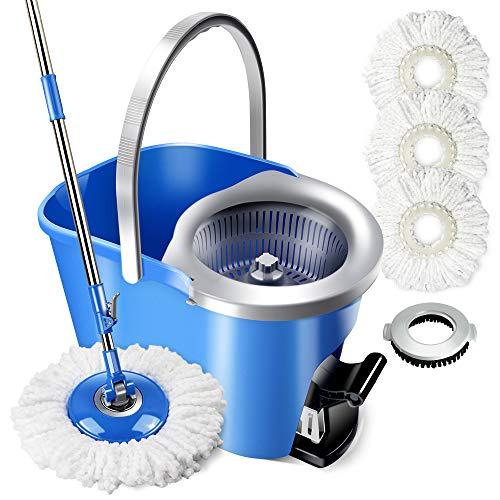 Magic Spin Mop and Bucket Set with 3 Pcs Refill Mop Pads 1Pcs Brush Head Foot Pedal Microfiber Mop