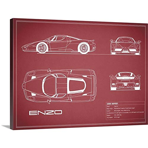 Ferrari Enzo - Maroon Canvas Wall Art Print, 24