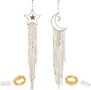YUESUO 2PCS Macrame Wall Decor Star Moon Dream Catcher with Lights Boho Wall Hanging Handmade Woven Tapestry Decor for Kids Room Bedroom Nursery Apartrment Wedding Ornament Craft Gift
