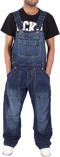 Qiangjinjiu ファッションメンズデニムビブワークウェアデニムジャンプスーツスリムフィットジャンプスーツポケット付き