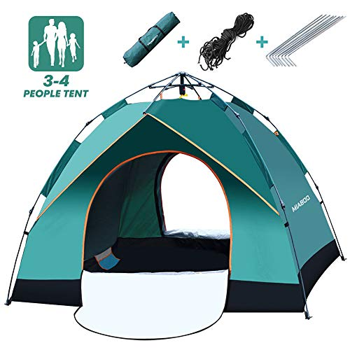 - MIABOO Camping Tent, 3-4 Person Family Beach Tent, Windbreak Automatic Pop Up Anti-UV Protection Backpacking Tent Carry Bag Included