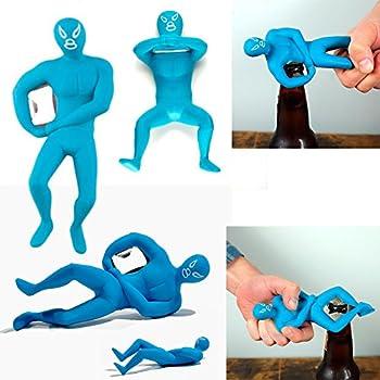 Luchador Bottle Opener Beer Cap Metal Ring Rare Novelty Gift In Blue Kikkerland