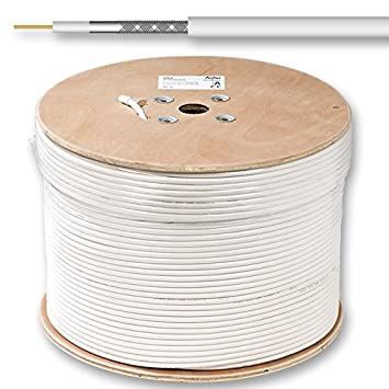 Fuba GKA 420 – Cable coaxial mini, color blanco, 500 m de carga,