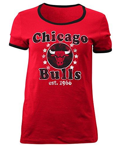 5th & Ocean NBA Chicago Bulls Adult Women Ladies Baby Jersey Short sleeve Ringer Tee,M,Red