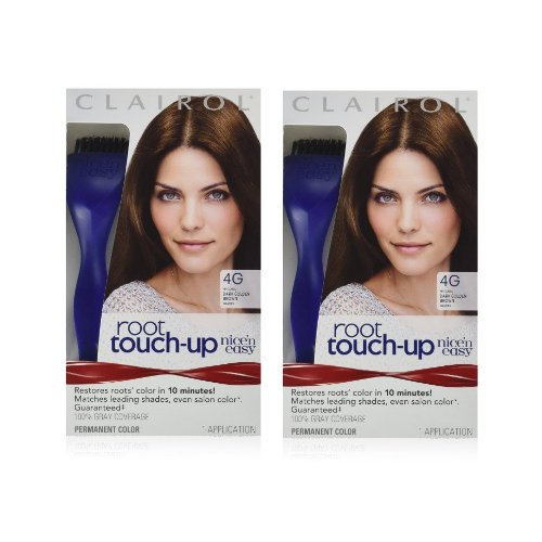 Clairol Nice 'n Easy Root Touch-Up 4G Kit (Pack of 2), Matches Dark Golden Brown Shades of Hair Coloring, Superior Grey - Brown Grey With