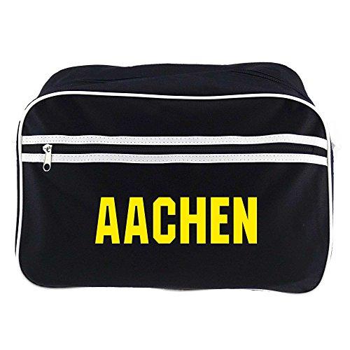 Retrotasche Schriftzug Aachen schwarz