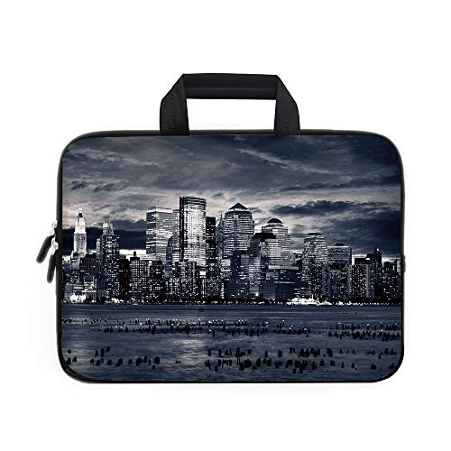 (City Laptop Carrying Bag Sleeve,Neoprene Sleeve Case/Dramatic View of New York Skyline from Jersey Side Clouds Buildings/for Apple Macbook Air Samsung Google Acer HP DELL Lenovo AsusCharcoal Grey Blac)