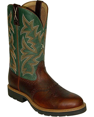 Twisted X Men's Saddle Vamp Pull-On Work Boot Steel Toe Cognac 13 D(M) US by Twisted X