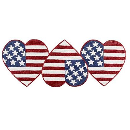 Nantucket H Stars and Stripes Patriotic Hearts Beaded Table Runner -