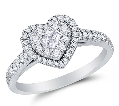 Size 8.75 - 14K White Gold Princess Cut & Round Diamond Halo Circle Engagement Ring - Invisible Set Heart Center Setting Shape with Prong Set Side Stones (1/2 cttw.)