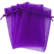 """4''X6"""" Organza Bags,100PCS 10X15CM Drawstring Organza Jewelry Favor Pouches Wedding Party Festival Gift Bags Candy Bags (Purple)"""