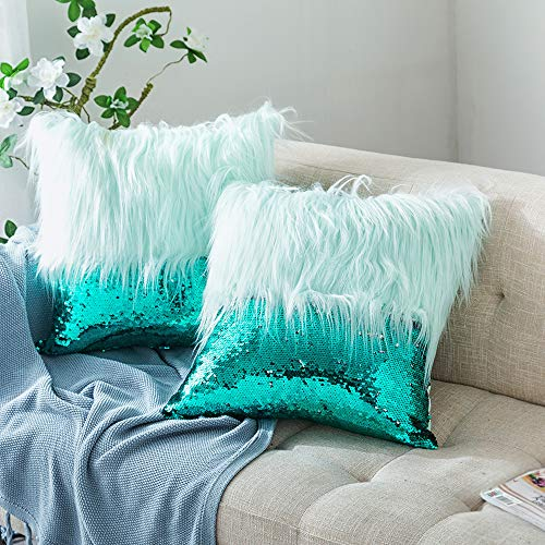 HmiL-U Throw Pillow Covers Reversible Sequins Mermaid + Faux Fur Decorative Pillows Cushion Case for Sofa Bedroom Car New Luxury Series Style 16 x 16 Inch 40 x 40 cm (Green-2 Pcs)