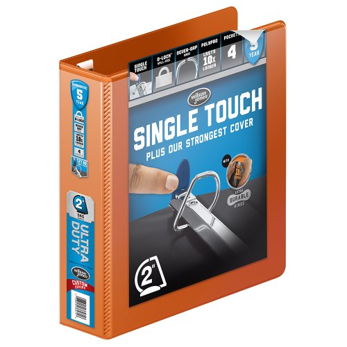 Wilson Jones 3 Ring Binder 2 Inch, Ultra Duty D-Ring View Binder with Extra Durable Hinge, Customizable, Dark Orange (W866-44-159)