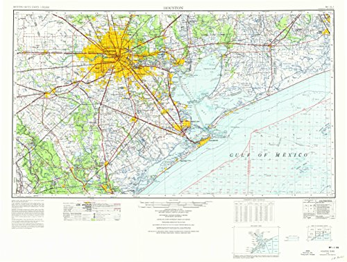 Houston TX topo map, 1:250000 scale, 1 X 2 Degree, Historical, 1975, updated 1977, 25.5 x 33.8 IN