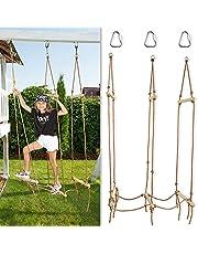 Rickety Bridge Rope Ladder - Ninja Slack line Accessories - Backyard Obstacle Course Accessories for Ninja Warrior Training - Rope Bridge Skip for Kids
