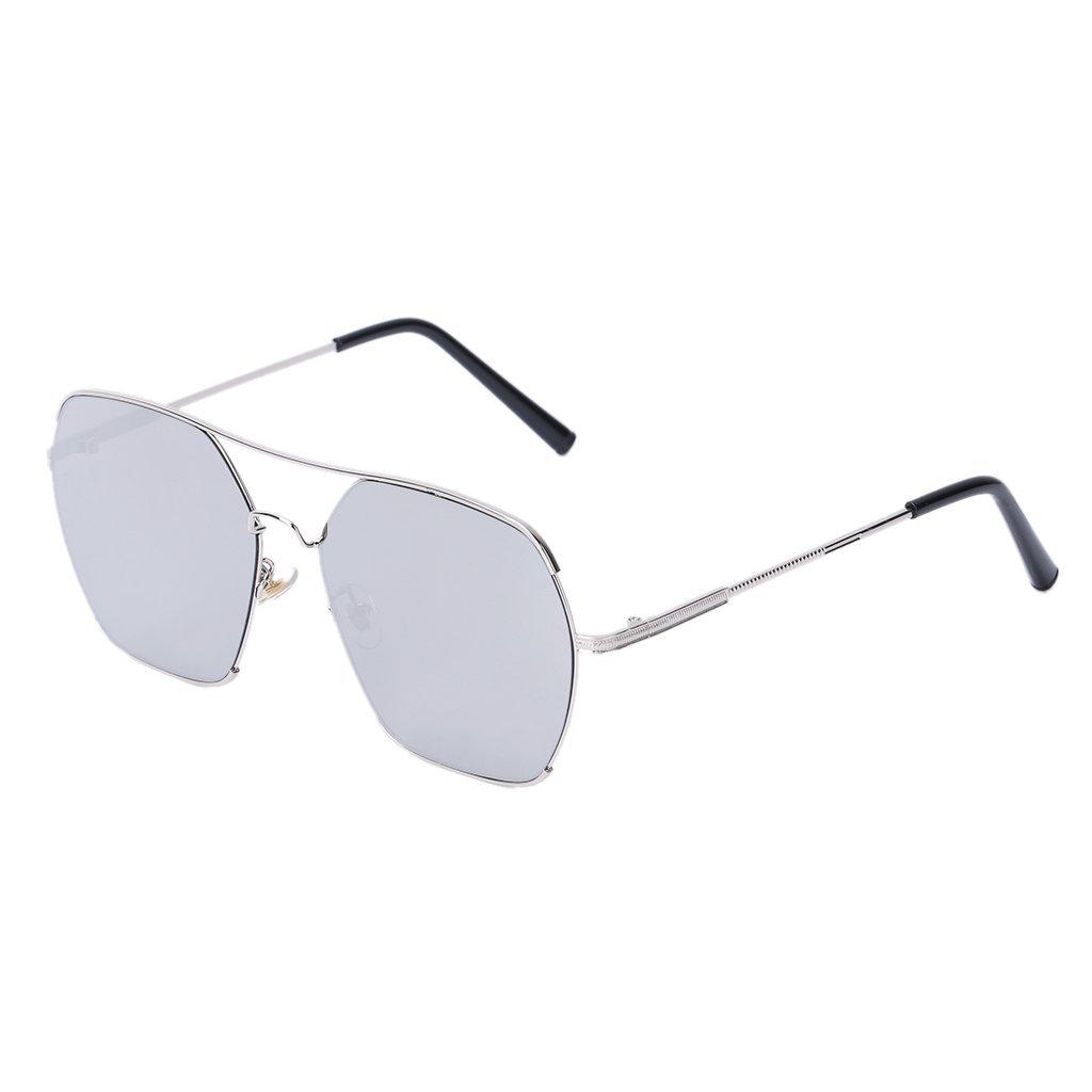 Hukai UV400 Chic Reflective Flat Top Sunglasses Fashion Eyewear Retro
