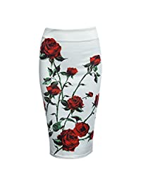 BeautyGal Women's Below the Knee Pencil Skirt for Office Wear(Red with White XL)