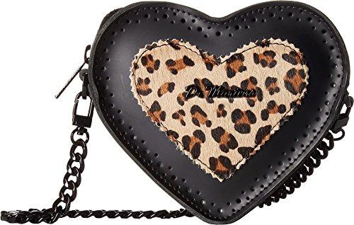 Dr. Martens Unisex Heart Purse Black/Medium Leopard Smooth/Italian Hair On One Size Heart Italian Bag