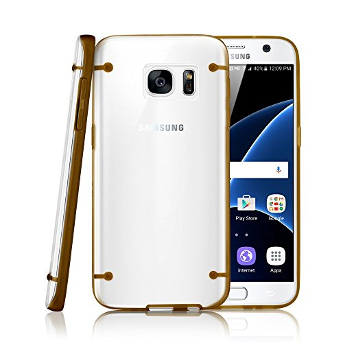 GEARONIC TM Slim Transparent Crystal Clear Hard TPU Cover Luminous Glow in the Dark Case for Samsung Galaxy S7 edge - Gold