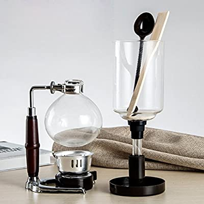 DecentGadget Coffee Syphon / Siphon Coffee Vacuum Glass Coffee Maker 5 Cup Syphon Maker, A Coffee Siphon Brewer for Coffee Beans Best, 500ML