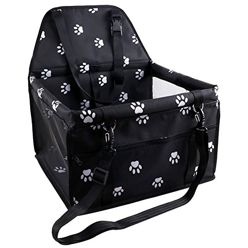OAKZIP Reinforce Pet Car Booster Seat for Dog Cat Portable and Breathable Bag with Seat Belt Cute Footprint Style Dog Carrier Safety Stable for Travel Look Out,with Clip on Leash and Storage Pockage