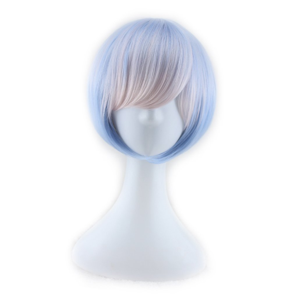 M-Egal Women Bob Short Straight Full Gradient Wig with Oblique Fringe for Cosplay Party blue