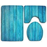 HOMESTORES Perfect Gifts - Sea Blue Old Wooden Oak Plank Striped Woods Thicken Skidproof Toilet Seat U Shaped Cover Bath Mat Lid Cover