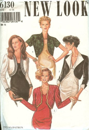 New Look Sewing Pattern 6130 Misses' Bolero in 4 Styles, Size 6 - 16