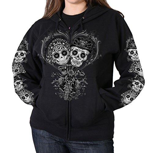 Hot Leathers Sugar Couple Full Cut Women's Hooded sweatshirt (Black, Large)