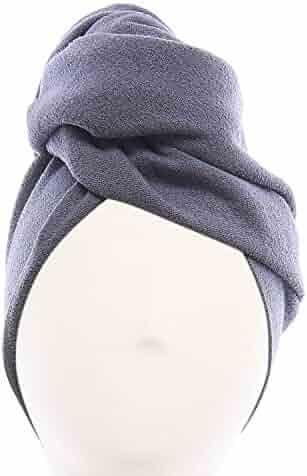 Aquis - Original Hair Towel, Ultra Absorbent & Fast Drying Microfiber Towel For Fine & Delicate Hair, Dark Grey (19 x 39 Inches)