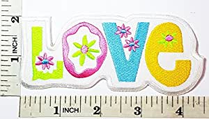 Love Peace sign hippie boho retro flower power summer of love hippy patch Symbol Jacket T-shirt Patch Sew Iron on Embroidered Sign Badge Costume