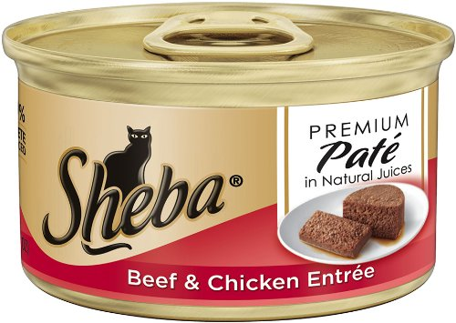 Sheba Premium Pate Entree Cat Food, Beef and Chicken, 3.0 Ounce (Pack of 24), My Pet Supplies