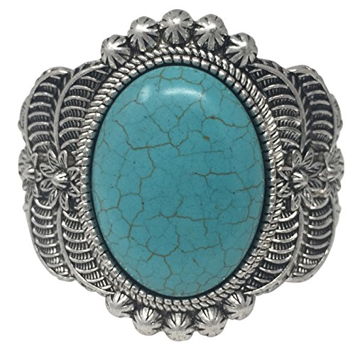 Western Style Silver Tone Wide Cuff Bracelet (Simulated Turquoise)