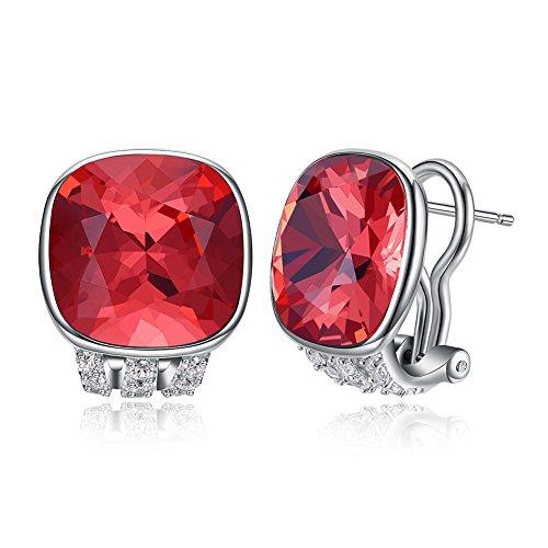 (Vogzone Coral Swarovski Crystal French Clip Earrings Piercing Silver CZ Stud Earrings for Women Wedding Jewelry)