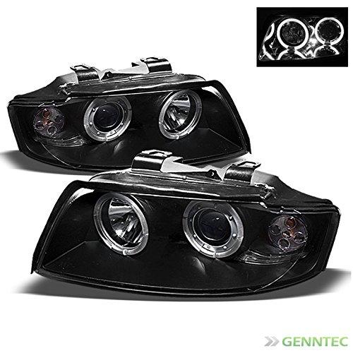 2002-2005 Audi A4 S4 Twin Halo Projector Black Headlights Head Lights Pair Left+Right 2003 2004