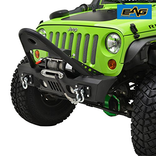 EAG JK Stubby Front Bumper With Stinger - OE Fog Light Housing Jeep Wrangler 07-18