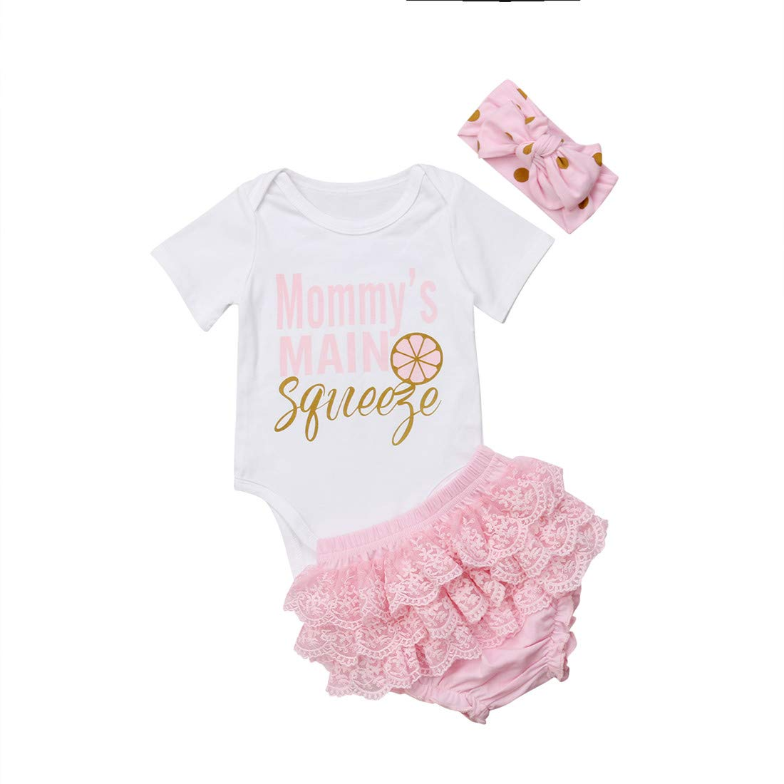 Newborn Baby Girls Clothes Daddy Mommy Outfit Rompers+Ruffel Pants Shorts+Headband 3PCS Clothing Set