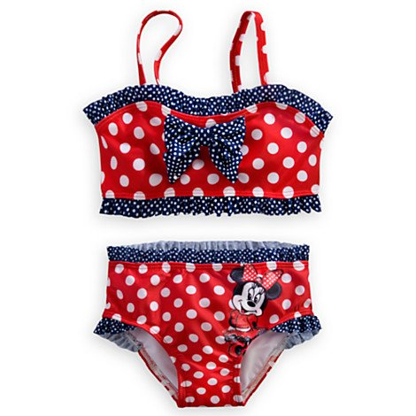Disney Store Minnie Mouse 2-pc Red Polka Dot Swimsuit Size 5/6