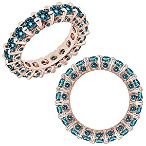 2.5 Carat Blue Diamond Beautiful Italian Designer Full Eternity Band Bridal Ring 14K Rose Gold