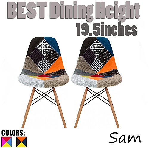 2xhome Set of Two (2) - Fabric Side Chair Chair Natural Wood Legs Eiffel Dining Room Chair - Lounge Chair No Arm Arms Armless Less Chairs Seats Wood Leg Dowel Legs (Patchwork S)
