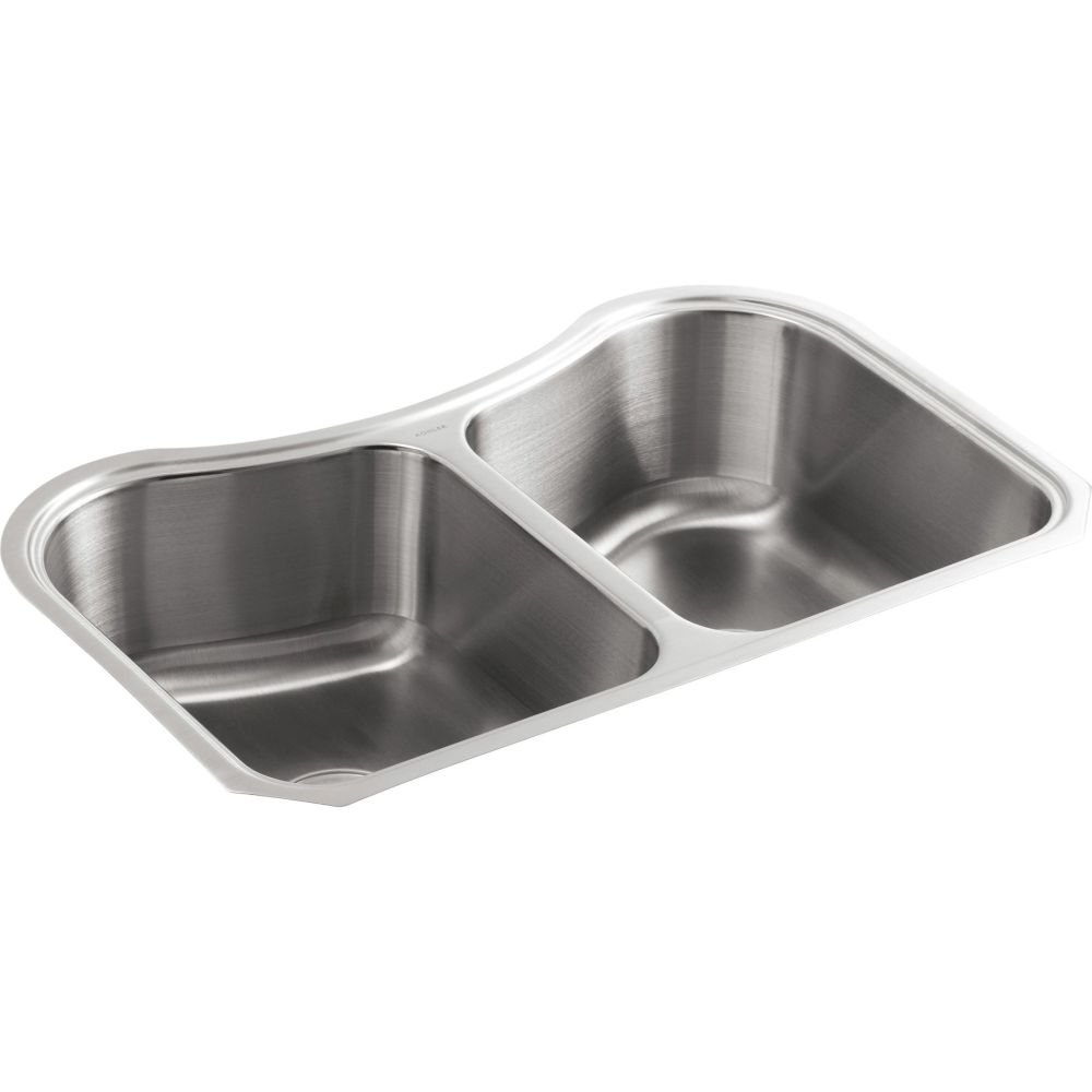 KOHLER 3899-NA Staccato TM 31-5 8 x 19-9 16 x 8-3 8 Under-Mount Double-Equal Bowl Kitchen Sink, One Size