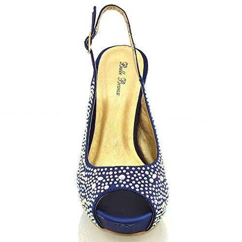 Zapatos Mujer Tacón Alto Tipo Sandalia Punta Abierta con Brillantes - Elegantes Para Boda Novia Graduación Talla 36-41 EU - Satén, Satén azul marino, 3 UK / 36 EU