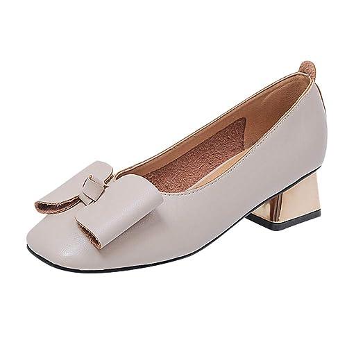 Tenthree Mujer Zapatos de Tacón - Verano Mocasines Cabeza Cuadrada Retro Boca Baja Color Sólido Arco Zapatos Perezosos Cómodos Trabajo: Amazon.es: Zapatos y ...