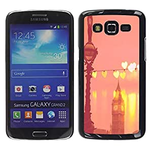 Be Good Phone Accessory // Dura Cáscara cubierta Protectora Caso Carcasa Funda de Protección para Samsung Galaxy Grand 2 SM-G7102 SM-G7105 // Big Ben Hearts Peach Pink London England